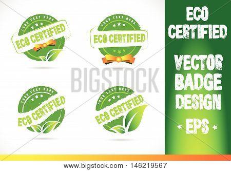 Eco certified Badge Vector Logobadge label seal stamp logo text design green leaf template vector eps