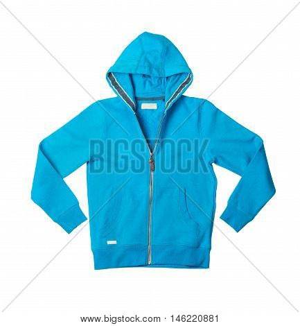 blue hoodie isolated on white background closeup