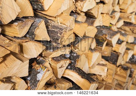 Chopped Brown Firewood, Stacked And Ready For Winter