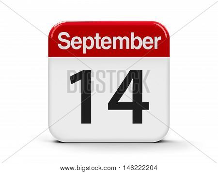Calendar web button - The Fourteenth of September three-dimensional rendering 3D illustration
