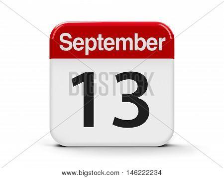 Calendar web button - The Thirteenth of September three-dimensional rendering 3D illustration