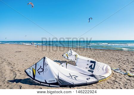 Ulcinj,Montenegro- July 18, 2016: Kitesurf power kite on the beach in Ulcinj Montenegro