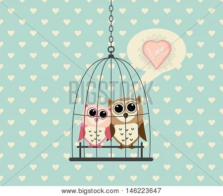 Couple Owl In Cage with Love Vector Illustration