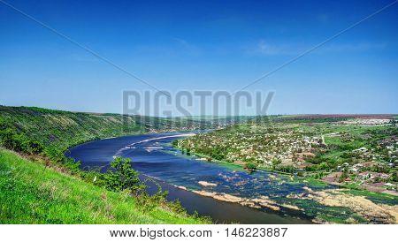 Landscape with Dnestr River Tsypova region Moldova