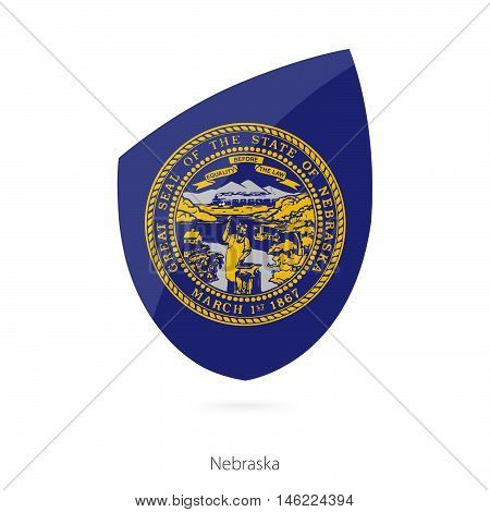 Flag of Nebraska in the style of Rugby icon. Vector Illustration.