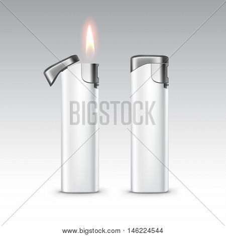 Vector Blank White Plastic Metal Lighters with Flame Close up Isolated on White Background