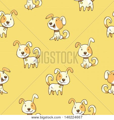 Seamless pattern with  cartoon dogs  on  yellow  background. Little cute puppies. Children's illustration. Vector image. Funny animals.