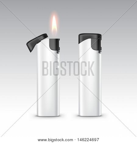 Vector Blank Black White Plastic Lighters with Flame Close up Isolated on White Background