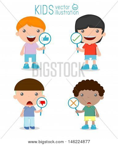 kids have a plate of sign to answer correct or incorrect, kids hand thumb up with true and false sign,Vector illustration of positive and negative feedback