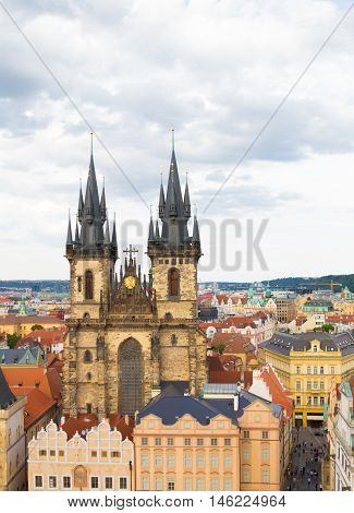 Old Town of Prague, Czech Republic. View on Tyn Church from Old Town City Hall