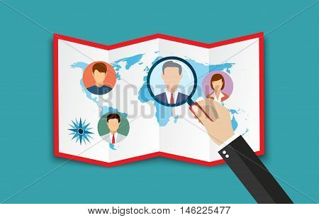 Human resources management concept, searching professional staff, work, hq, world map with candidates, hand with magnifying glass. vector illustration in flat design