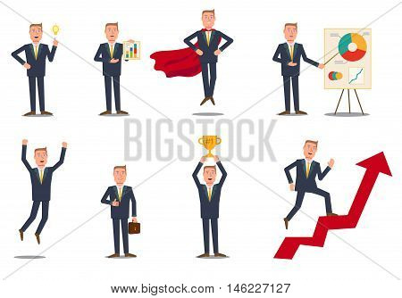 Flat style cartoon businessman poses. Isolated poses. Stock vector