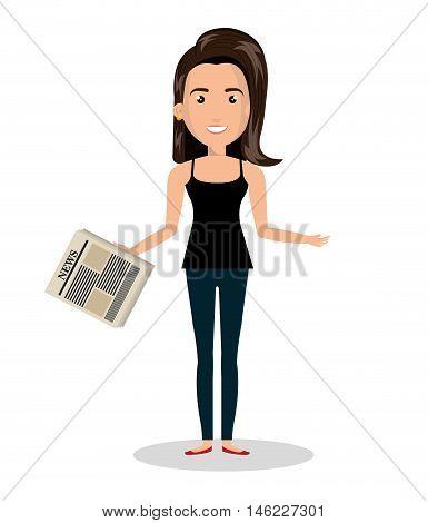 woman cartoon news read isolated vector illustration eps 10