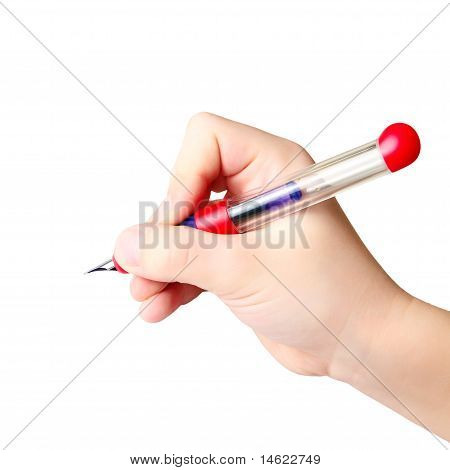 Hand holding ink pen