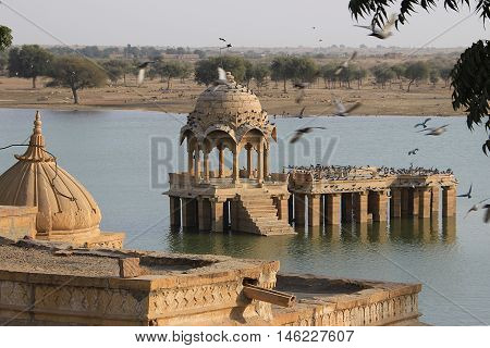 Stone built viewing gallery and platform at Gadisar Lake in Jaisalmer Rajasthan India Asia