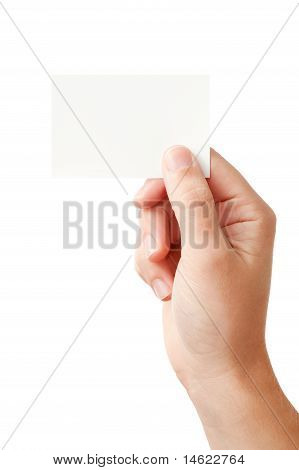 Hand and blank card