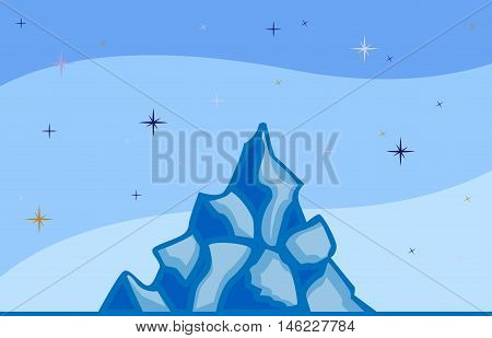 Abstract image of Iceberg and sky with stars