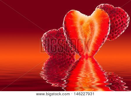 Fresh Sliced Strawberry In Heart Shape Reflected