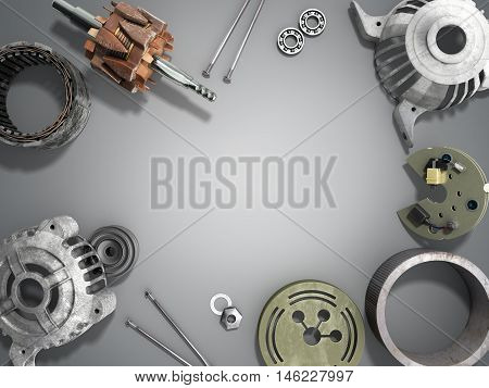 Opened Electric Motor 3D Render Isolated Gradient Background