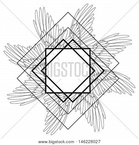 Graphic wings drawn in line art style, Vector seamles pattern in black and white colors. . Coloring book page design for adults and kids