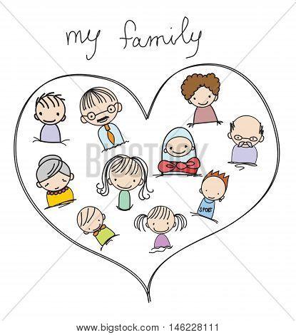 Vector children's doodle illustration of happy family