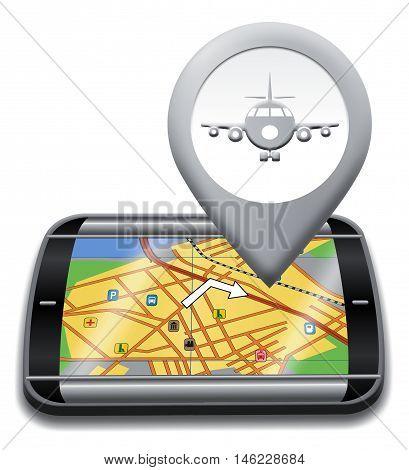 Airport Gps Shows Landing Strip 3D Illustration