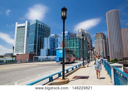 Boston,Massachusetts,USA - July 15,2016: Boston skyline from Seaport boulevard bridge Massachusetts USA