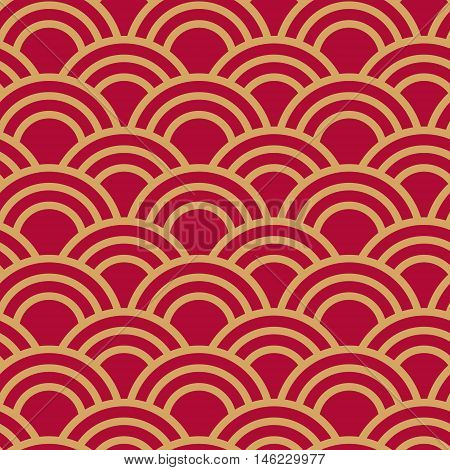 Traditional japanese seamless wave pattern in red and gold. Traditional japanese seamless wave pattern for textile, cover or package.