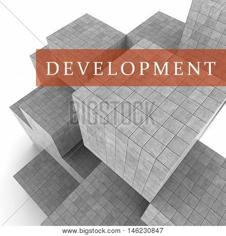 Development Blocks Means Product Developing 3D Rendering