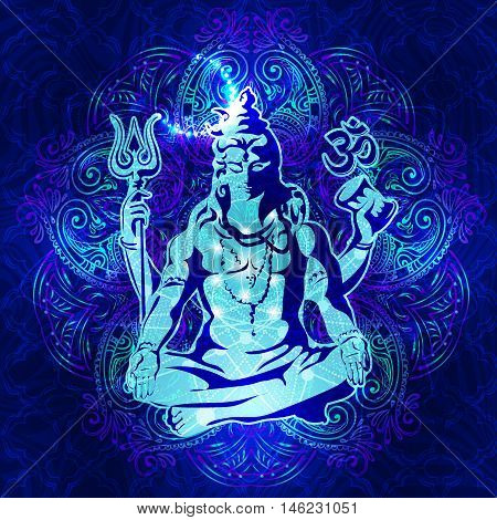 Shiva - The transcendental spiritual image of the in meditation. Lord Shiva sitting in the lotus position