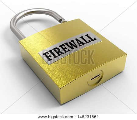 Firewall Padlock Represents Guard And Protect 3D Rendering