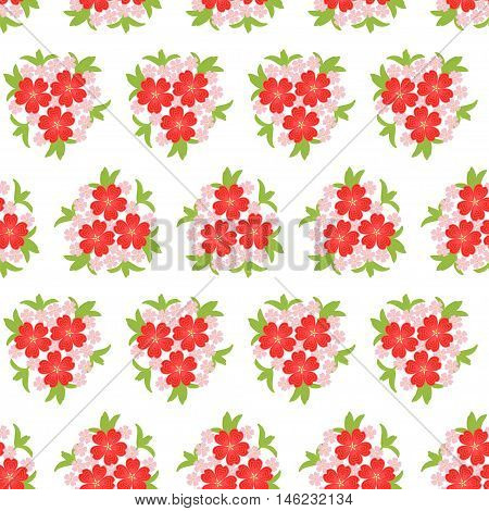 Cute seamless background pattern with many repeating flowers gathered in bouquet on the white fond. Vector illustration eps 10