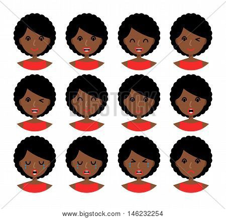 Woman emotions. Beautiful african american girl with brown hair. Facial expression icons set. Isolated on whote background. Set of woman avatars. Vector illustration.