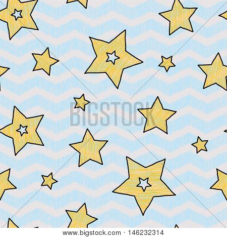 Stars and zigzag seamless pattern for wraping paper backgrouns and textile fairy tale pastel colors