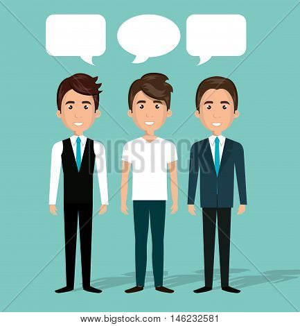 men group chat talk dialogue isolated vector illustration eps 10