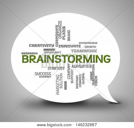 Brainstorming Bubble Indicates Plan Brainstorms 3D Illustration