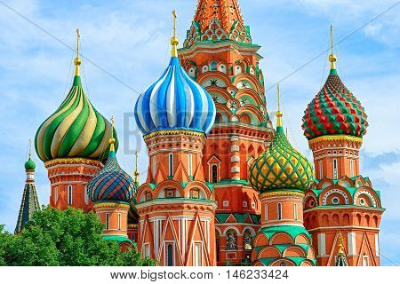 Domes of the famous Head of St. Basil's Cathedral on Red square Moscow Russia