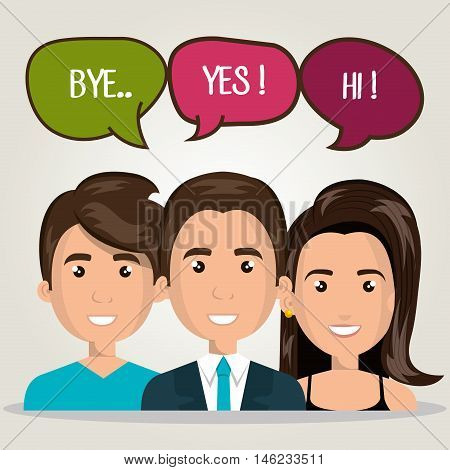 men woman talking bubble dialogue isolated vector illustration eps 10