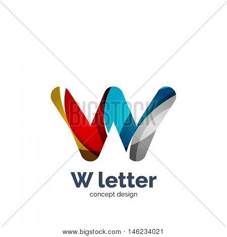 Vector W letter logo, modern abstract geometric elegant design, shiny light effect. Created with flowing waves