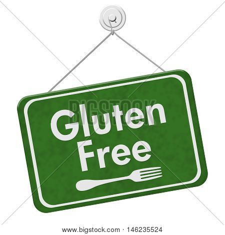 Finding Gluten Free Food A green hanging sign with text Gluten Free and a fork isolated over white, 3D Illustration