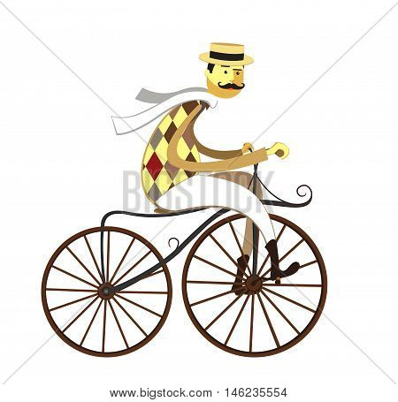 Gentleman cyclist in a flat style. Elegant man riding on a old bicycle. Retro bicycle. Vector illustration.Vintage Retro Bicycle Background.