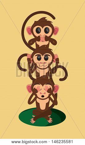flat design three wise monkeys jungle monkey cartoon vector illustration
