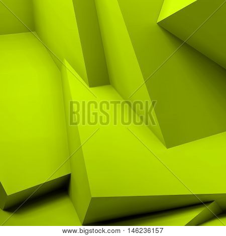 Abstract geometric background with realistic overlapping acid green cubes