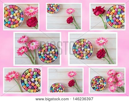 Collage photo of colorful macarons in the box with sweet pink color background
