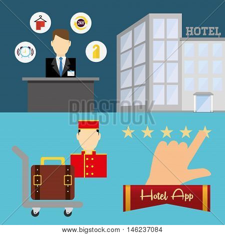 receptionist bellboy and hotel apps icon set. Service technology media and digital theme. Colorful design. Vector illustration