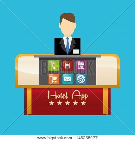 receptionist man and hotel apps icon set. Service technology media and digital theme. Colorful design. Vector illustration