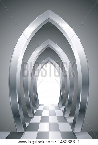 Fantastic arcade of metallic steel arches in the interior of the gallery or the castle. Corridor with illuminated exit. Architectural abstraction in the Arab or Oriental style. Vector graphics