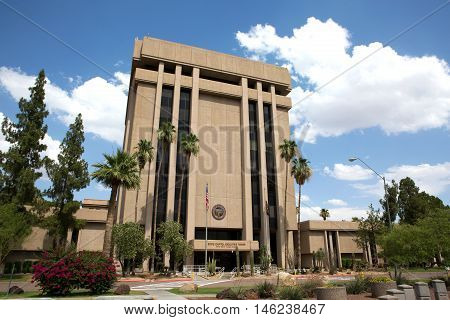 PHOENIX ARIZONA - JUNE 11 2016: Arizona State Capitol Executive Tower complex which houses the governor's office was sold in 2009 in a real estate transaction to raise money for the state budget. The state now leases the building.