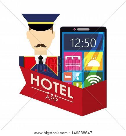 bellboy smartphone and hotel apps icon set. Service technology media and digital theme. Colorful design. Vector illustration