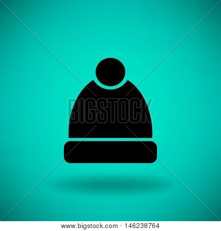 Flat icon. Winter cap.